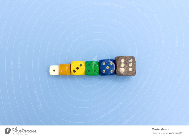 Dice row with numbers from 1 to 6 Leisure and hobbies Playing Digits and numbers Authentic Happiness Blue Multicoloured Joy Happy Risk Throw dice Result Decide
