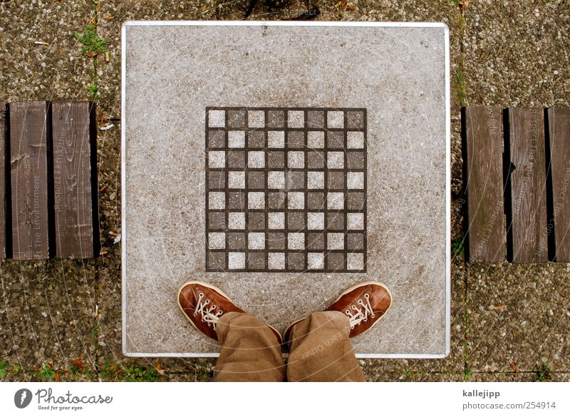 pawn sacrifice Leisure and hobbies Playing Human being Legs Feet 1 Chess Chessboard Table Referee Colour photo Exterior shot Light Contrast Bird's-eye view