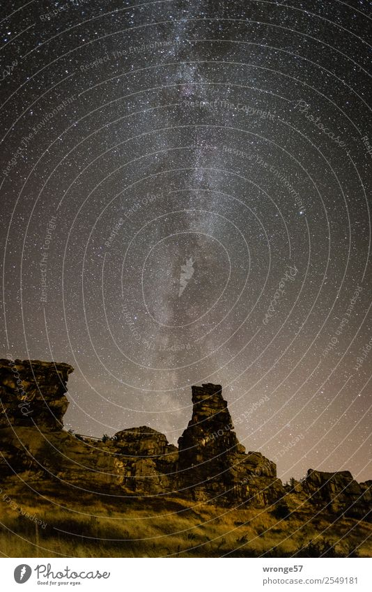complex starry sky Nature Landscape Earth Air Sky Cloudless sky Night sky Stars Summer Rock Teufelsmauer Illuminate Gigantic Infinity Brown Yellow Black