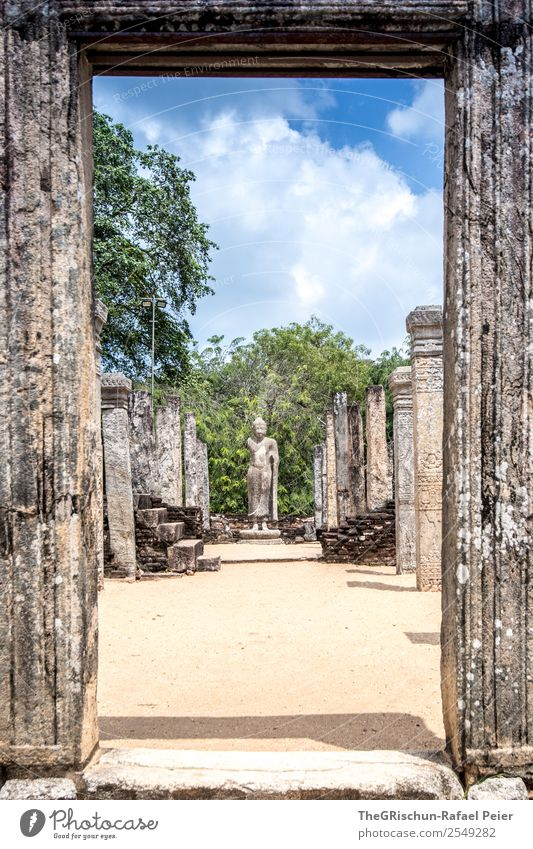 temple Manmade structures Old Monument Sri Lanka Statue Polonnaruwa Royal Palace Column Stone Culture Vacation & Travel Discover Colour photo Deserted