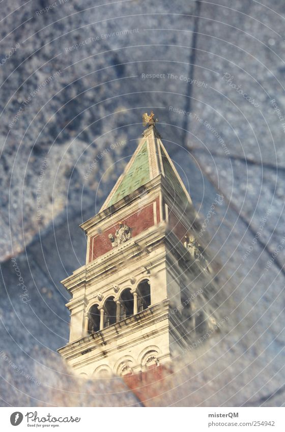 deep up. Art Work of art Esthetic Reflection Puddle Tower St. Marks Square Campanile San Marco Baroque Renaissance Perspective Surrealism Exceptional Above