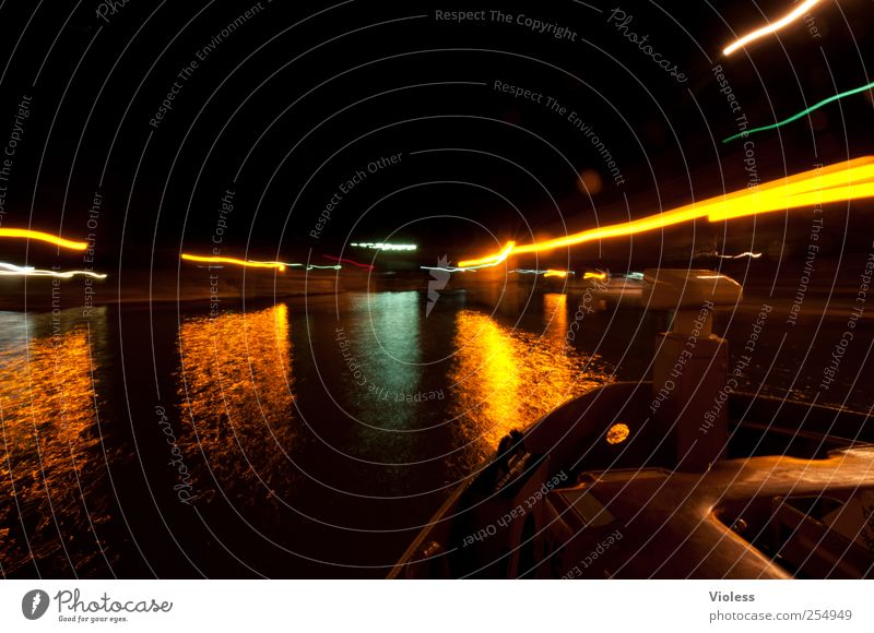 venetian lights III Navigation Inland navigation Harbour Illuminate vaporetto Lagoon Islands Venice Italy Boating trip Passenger ship Colour photo Exterior shot