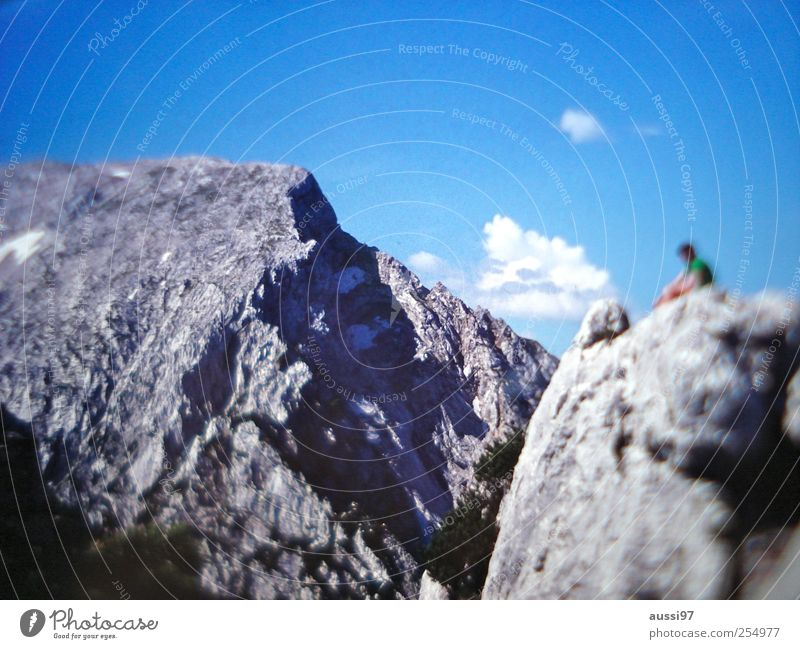 mountain lust Relaxation Vacation & Travel Mountain Hiking Human being Rock Break Go up Cervice Blur