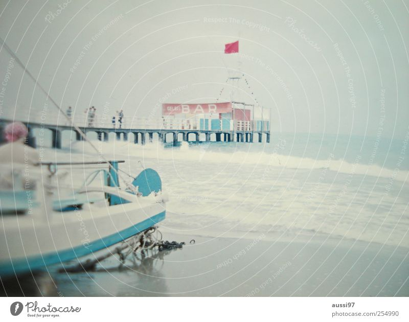 """Behind the boat lurks Heinz Erhardt Beach Bar Cocktail bar Observe Relaxation Italy gelato Sixties Economic miracle """"Sea, waves"""" Blur"""