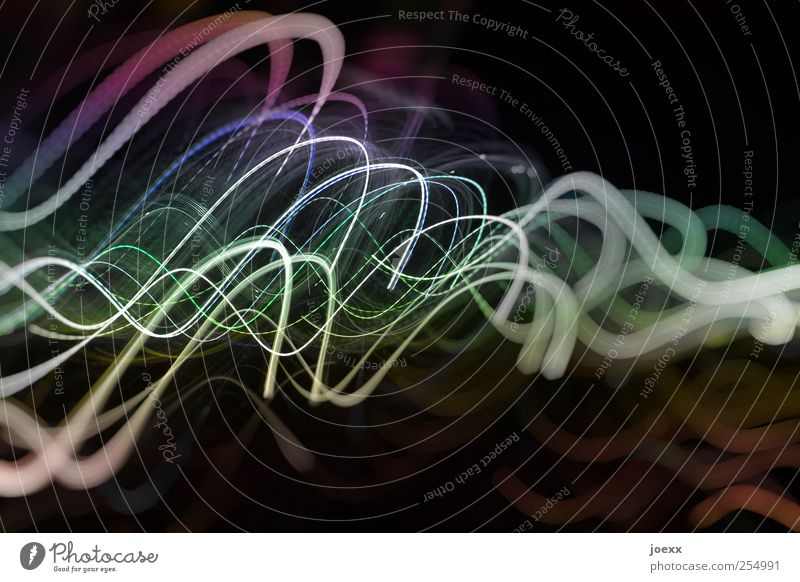 thoughts Line Movement Illuminate Blue Green Violet Black White Energy Inspiration Art Tracer path Visual spectacle Beam of light Colour photo Multicoloured