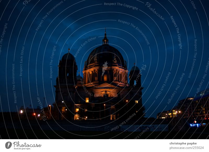 The Dome Sightseeing City trip Museum Clouds Night sky Berlin Town Capital city Downtown Church Tourist Attraction Stone Dark Large Kitsch Blue Belief