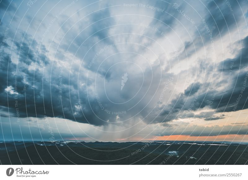 Thunderclouds No.2 Nature Landscape Plant Elements Sky Clouds Storm clouds Horizon Weather Bad weather Rain Forest Hill Mountain Peak Exceptional Threat Dark