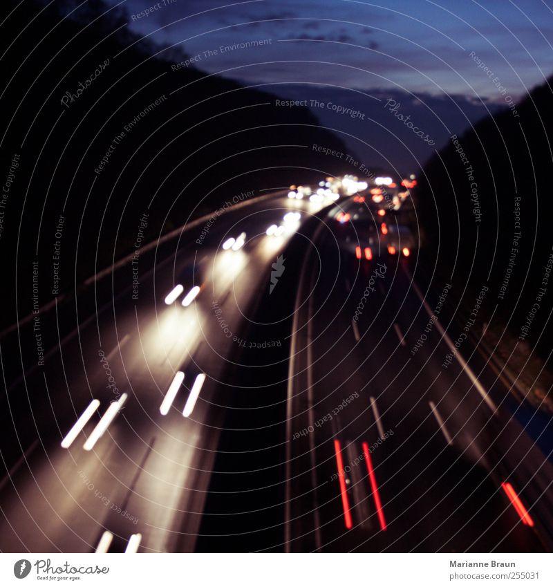 Blue White Red Black Street Dark Movement Car Transport Speed Driving Tracks Highway Curve Motoring Dusk