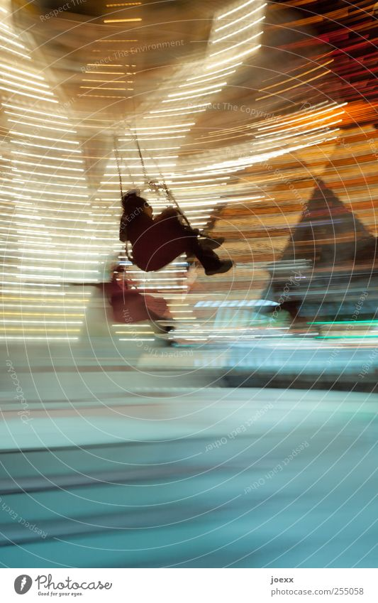 When the time comes Joy Leisure and hobbies Event Oktoberfest Fairs & Carnivals 2 Human being Movement Rotate Flying Hang To swing Bright Speed Blue
