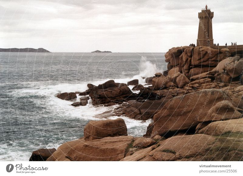 Lighthouse France Waves Ocean Water Rock