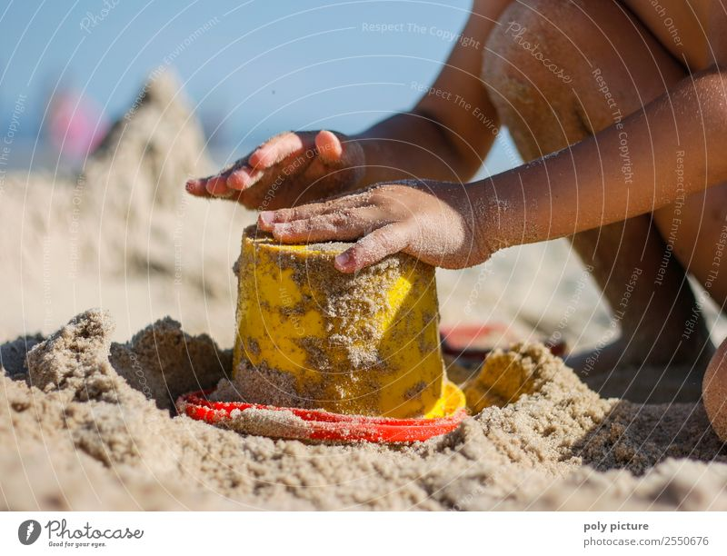 Child makes sand cake with bucket shape Vacation & Travel Tourism Summer Summer vacation Sun Sunbathing Beach Toddler Girl Boy (child) Infancy