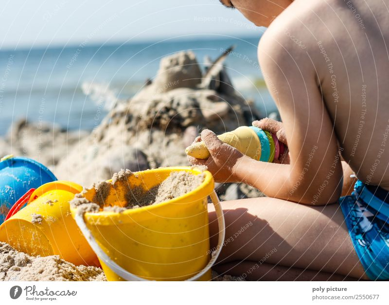 Child playing on the beach Leisure and hobbies Playing Vacation & Travel Tourism Trip Far-off places Freedom Summer Summer vacation Sun Sunbathing Toddler