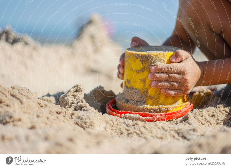 Small child plays with bucket on the beach Vacation & Travel Tourism Freedom Summer Summer vacation Sun Sunbathing Beach Ocean Child Girl Boy (child) Infancy