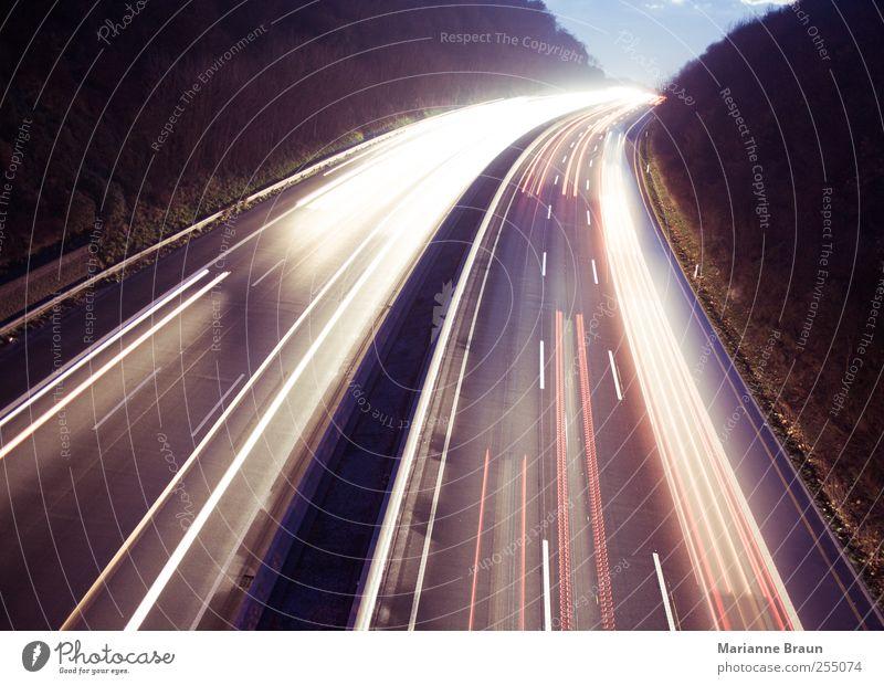 White Red Black Street Dark Movement Car Line Transport Speed Driving Tracks Highway Truck Curve Motoring