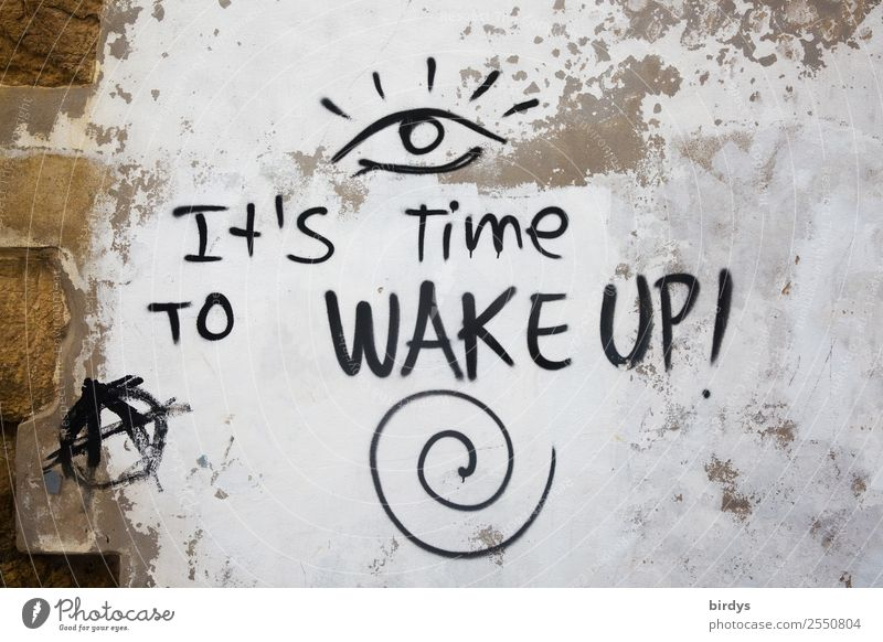 Town White Black Eyes Life Graffiti Wall (building) Time Wall (barrier) Brown Characters Authentic Future Uniqueness Sign Target