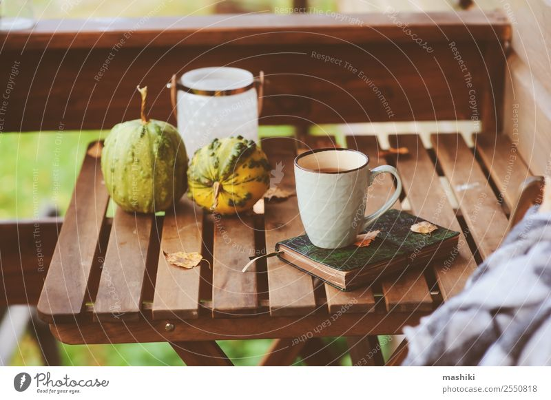 cozy autumn morning at country house Tea Lifestyle Relaxation Garden Decoration Table Autumn Warmth Leaf Wood Dream Hot Modern Safety (feeling of) Comfortable