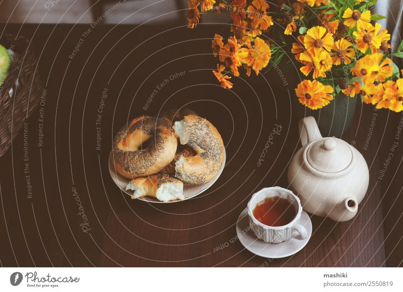 cozy autumn breakfast on table in country house Breakfast Beverage Tea Pot Lifestyle Relaxation Decoration Table Autumn Warmth Leaf Forest Brown