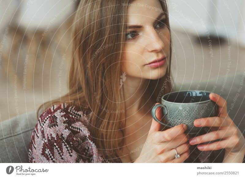 close up portrait of young thoughtful woman Breakfast Coffee Tea Lifestyle Illness Relaxation Living room Woman Adults Dream Sadness Hot Modern Natural Strong