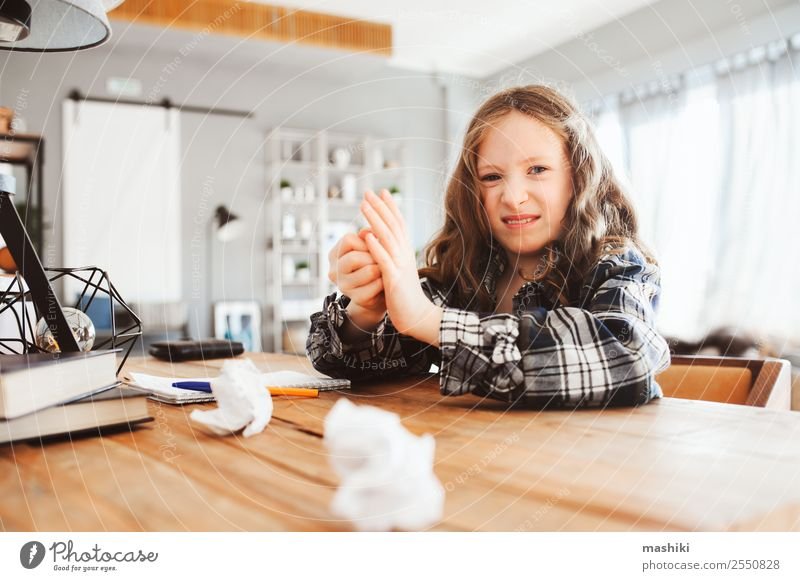 tired child girl throwing homework with mistakes Lifestyle Child School Study Schoolchild Infancy Book Write Sadness Smart Fatigue Stress Concentrate Creativity