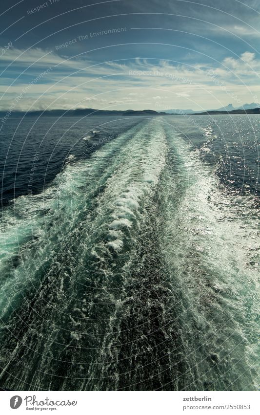 rear wave Europe Arctic Ocean Vacation & Travel Fishery Ferry Stern Sky Heaven Horizon Landscape Maritime Nature Norway Crossing Travel photography Watercraft