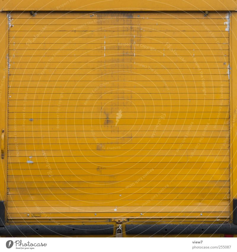 Old Yellow Wall (building) Wall (barrier) Metal Line Closed Facade Beginning Transport Authentic Stripe Simple Logistics Gate Truck