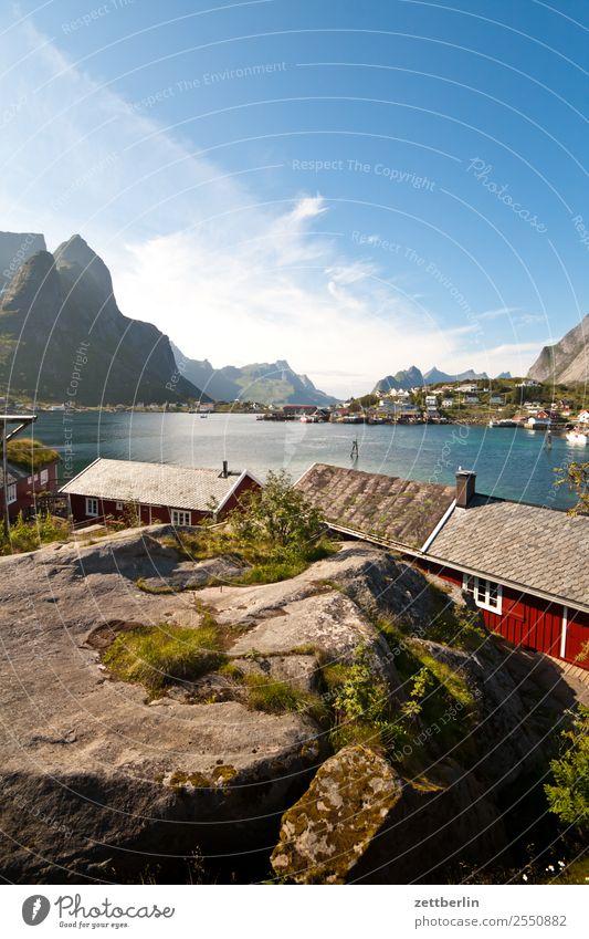 Kjerkfjorden, Reine Arctic Ocean Rock Vacation & Travel Fisherman Fishermans hut Harbour Sky Heaven Wooden house Hut Island Landscape Lofotes Maritime Deserted