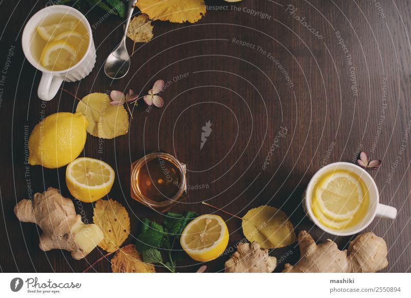 cooking ginger, lemon and honey hot tea Fruit Herbs and spices Vegetarian diet Beverage Tea Alternative medicine Winter Warmth Fresh Hot Natural Lemon herbal