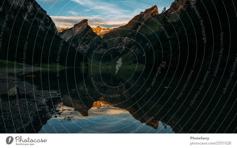 Good morning beautiful Switzerland Mountain mountains Alps appenzellerland Lake mountain lake Sunrise Sunrise - Dawn reflection Reflection in the water