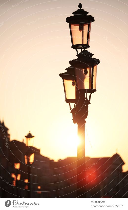 When the light's on. Art Esthetic Contentment Calm Idyll Venice Veneto Lantern Street lighting Lamp post Dazzle Lens flare Glare effect Sun Vacation & Travel