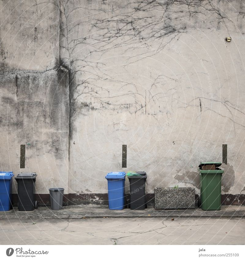 backyard trash Places Wall (barrier) Wall (building) Facade Concrete Concrete wall Gloomy Town Trash container Recycling Parking lot Arrangement Petit bourgeois