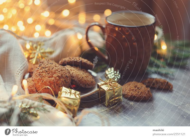 cozy Christmas and winter setting with homemade cookies Dessert Hot Chocolate Coffee Winter Decoration New Year's Eve Safety (feeling of) Tradition christmas