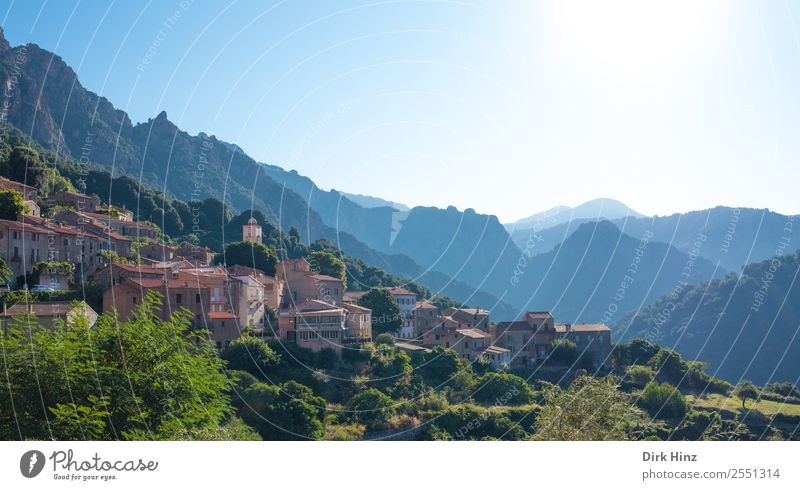 Mountain village Ota on Corsica Vacation & Travel Tourism Trip Far-off places Freedom Sightseeing Summer vacation Hiking Environment Nature Landscape Sky