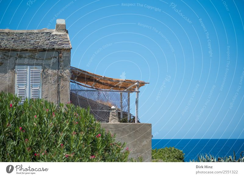 Old building with terrace on Corsica Vacation & Travel Tourism Trip Far-off places Freedom Summer Summer vacation Sky Horizon Beautiful weather Coast Village