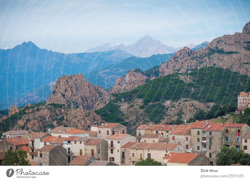 Village Piana on the west coast of Corsica Vacation & Travel Tourism Trip Far-off places Sightseeing City trip Summer vacation Landscape Mountain Small Town