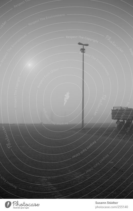 at the harbour   Spiekeroog Sun Fog Street Truck Trailer Harbour Threat Shroud of fog Sea of fog Paving stone Lantern Wooden stake Island North Sea Haze