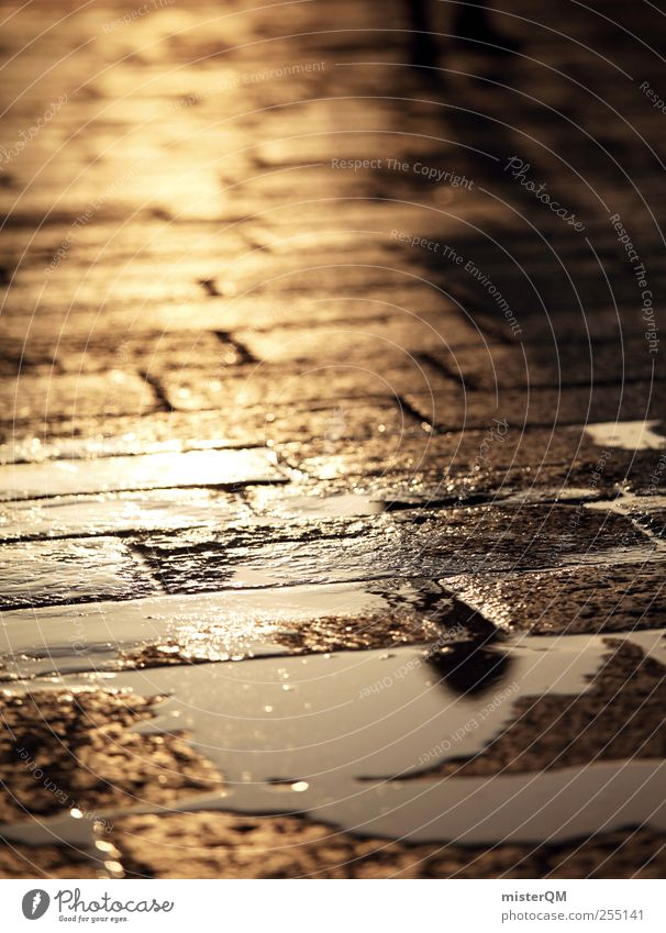 Tears of the Sun. Art Esthetic Floor covering Sidewalk Footpath Paving stone Venice Gold Glittering Reflection Street Romance Idyll Peaceful Empty Loneliness