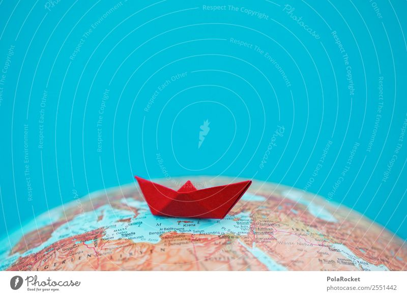 #AS# Sailing II Globe Red Esthetic Refugee Watercraft Paper boat Mediterranean sea Vacation & Travel Cruise Origami Folded Earth Tourism Travel photography Ark