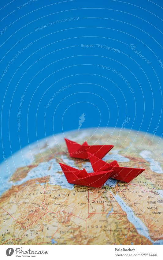 #AS# Sailing III Environment Globe Fear Red Paper boat Escape Origami Folded Traveling Refugee Waves Watercraft Tourism Wanderlust Mediterranean sea