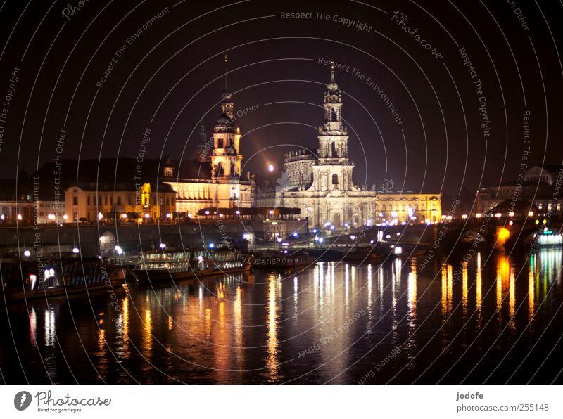 Old Water Beautiful City Dark Coast Bright Watercraft Lighting Glittering Church Idyll Dresden Card Skyline Castle