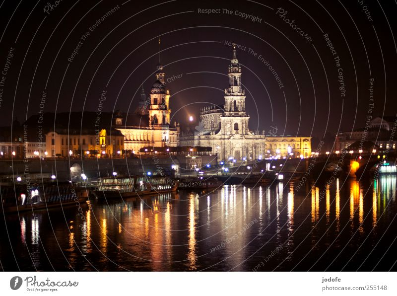 Old Water Beautiful City Dark Coast Bright Watercraft Lighting Glittering Church Idyll Dresden Card Skyline Castle