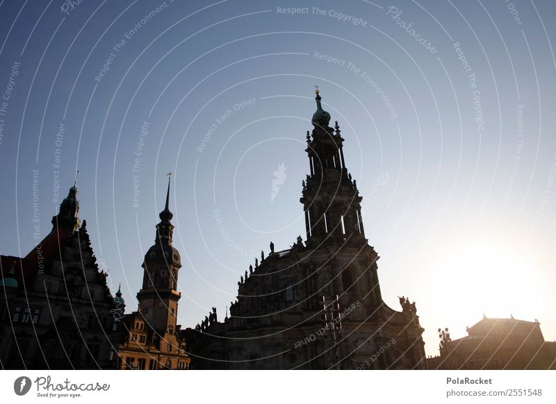 #A# Dresden shadow Church Uniqueness Dresden Hofkirche Lock Semper Opera Saxony Old town Historic Historic Buildings Silhouette Elbufer Baroque Subdued colour