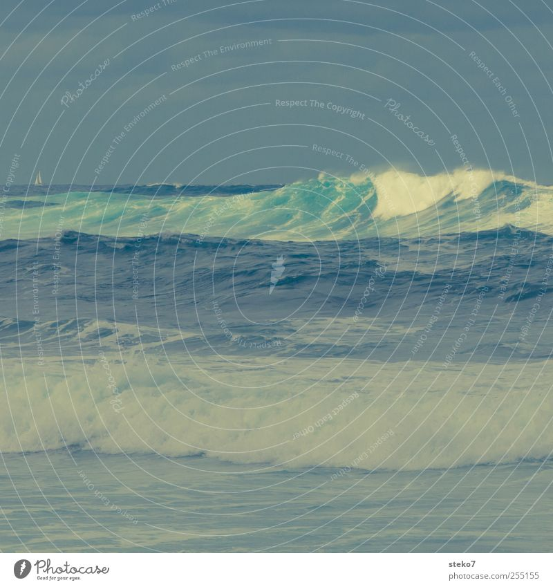 Sky Green Ocean Yellow Gray Waves Horizon Threat Gale Surf Bad weather Sailboat Retro Colours