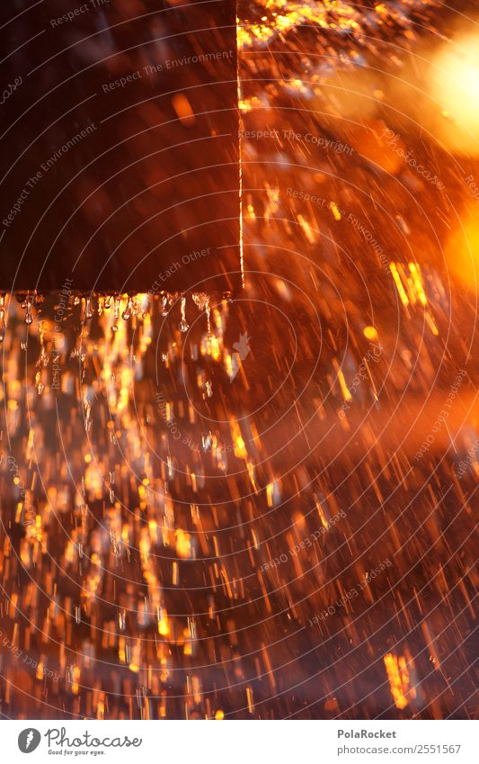 #A# Golden Square Art Esthetic Inject Sunset Fountain Water Drops of water Particle Abstract Colour photo Multicoloured Exterior shot Close-up Experimental