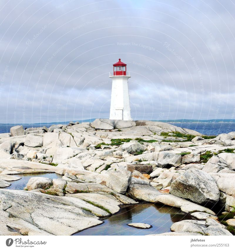 Peggy's Cove Landscape Elements Rock Tourist Attraction Exceptional Threat Far-off places Infinity Kitsch Blue White Lighthouse peggy`s cove Nova Scotia Canada