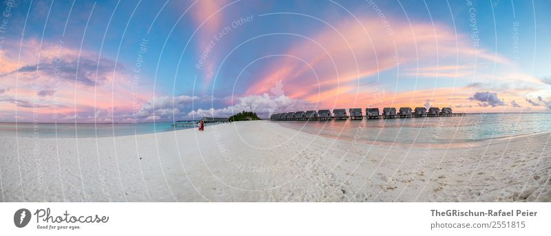 panorama Nature Blue Violet Orange Pink White Panorama (Format) Clouds Moody Multicoloured Maldives Paradise Sand Beach Water Ocean