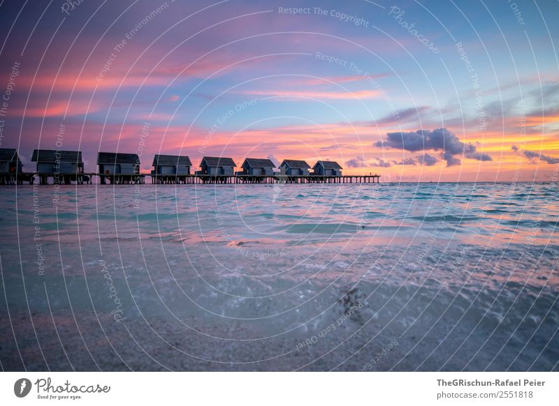 mood Landscape Blue Gray Violet Orange Pink White Water Ocean Sea water Island Paradise Maldives Calm Relaxation House (Residential Structure) Clouds Moody