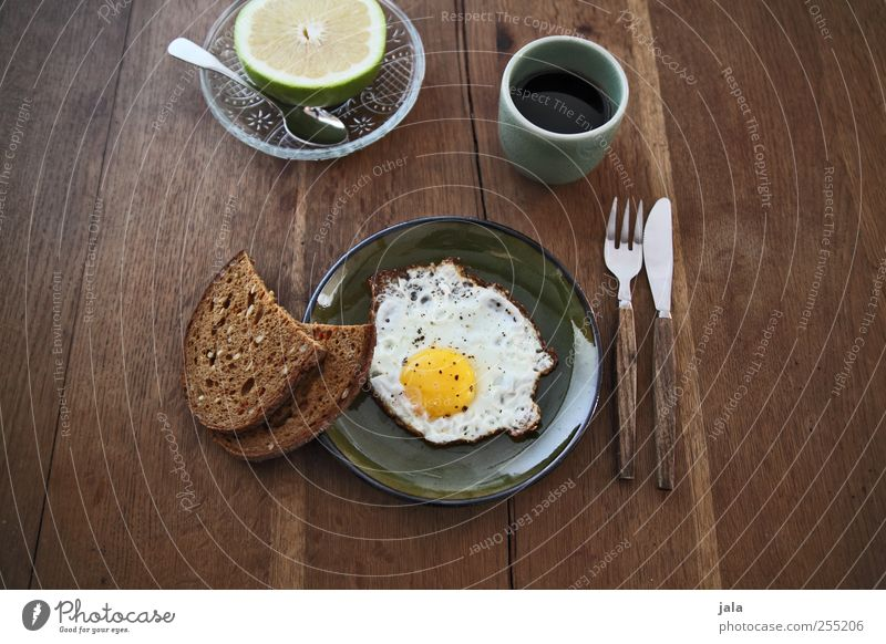 time for breakfast Food Fruit Bread Fried egg sunny-side up Nutrition Breakfast Organic produce Beverage Hot drink Coffee Crockery Plate Bowl Cup Mug Cutlery