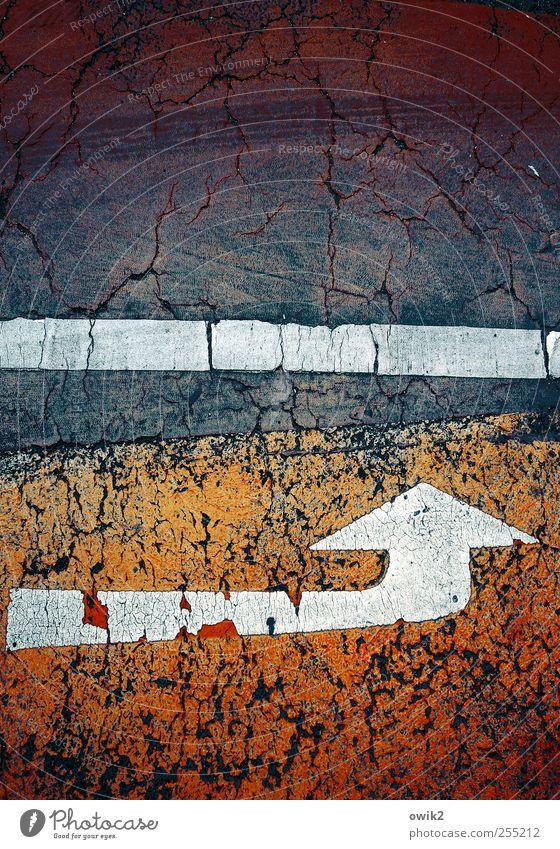 whack Transport Traffic infrastructure Street Lane markings Traffic lane Sign Arrow Stripe Line Asphalt Sharp-edged Simple Firm Under Blue Red Black White