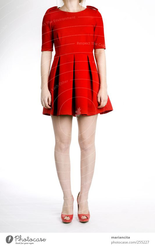 Red dress Human being Youth (Young adults) Hand Red Legs Feet Footwear Clothing Dress Young woman Youth culture