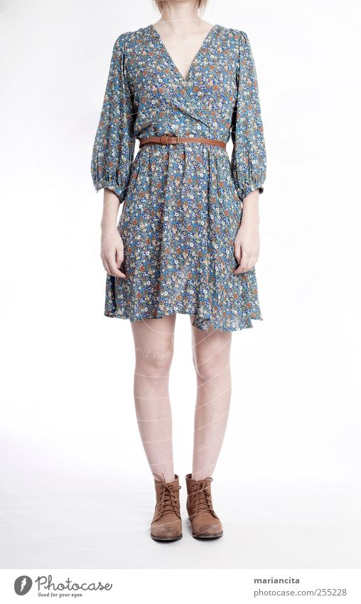 Flowery dress Human being Young woman Youth (Young adults) Arm Hand Legs Feet 1 18 - 30 years Adults Fashion Clothing Dress Footwear Boots Blue Brown